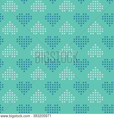 Vector Cross Stitch Hearts On Green Seamless Pattern Print Background.