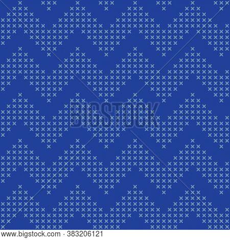 Vector Cross Stitch Zig Zag Seamless Pattern Print Background.