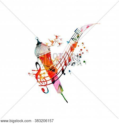 Colorful Music Promotional Poster With Music Notes And Microphone Isolated Vector Illustration. Arti