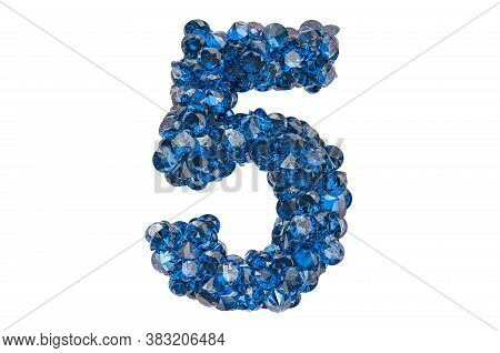 Number 5 From Blue Diamonds Or Sapphires With Brilliant Cut. 3d Rendering Isolated On White Backgrou