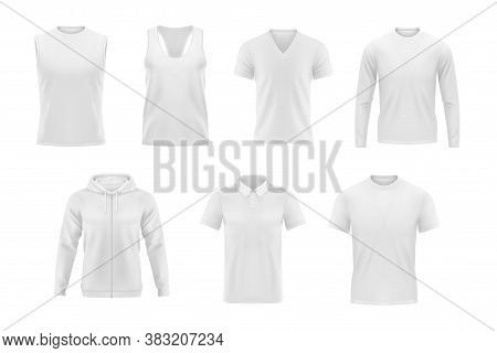 Men Clothes Vector Tshirt, Hoodie And Polo Shirt With Singlet And Longsleeve Apparel Mockup. Realist