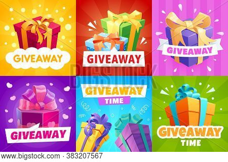 Giveaway Vector Gift Boxes And Presents Wrapped With Ribbons. Store Offer, Promotion With Gifts And