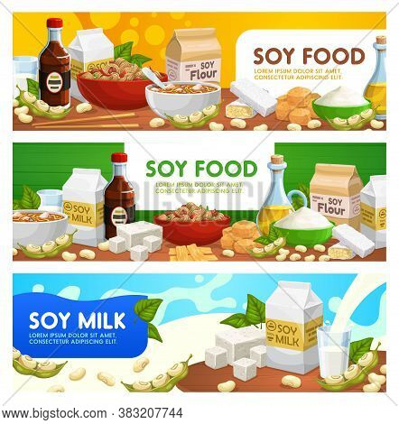 Soy Food And Soybean Products Vector Soya Sauce, Tofu, Soybean Milk And Oil. Natural Organic Soybean
