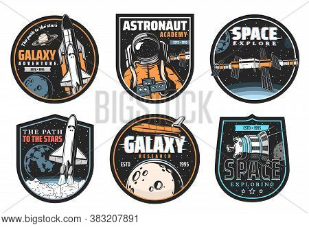 Galaxy Research, Space Explore And Astronaut Mission Icons. Shuttle Launch Vehicle And Orbiter Flyin