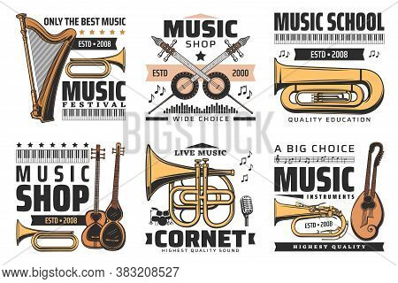 Music Icons, Concert Festival And Instruments Shop, Orchestra Sound And Folk Music Signs. Music Inst