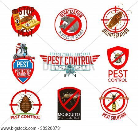 Pest Control Isolated Icons. Vector Cockroach, Rat And Colorado Beetle, Bedbug, Mosquito And Wasp Pr