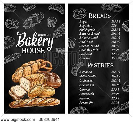 Bakery House, Bread Shop Menu Chalkboard Vector Template. Sliced On Pieces Cheese Bread, Plait Or Br