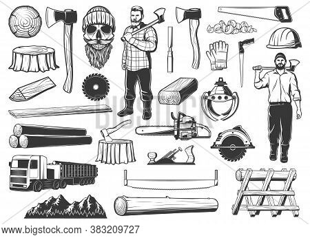 Lumberjack, Lumbering And Logging Wood Icons, Lumber And Forestry Industry, Vector. Lumberjack Logge