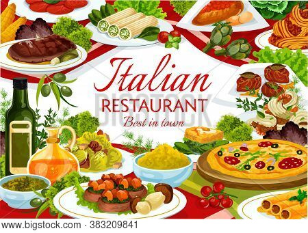Italian Cuisine Restaurant Vector Banner. Pizza And Veal With Mushrooms, Beef Cannelloni And Caesar
