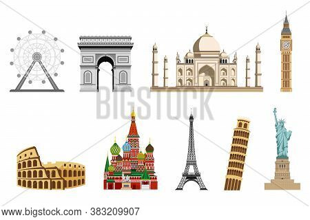 Travel To World. Road Trip. Big Set Of Famous Landmarks Of The World. Colosseum, Arc De Triomphe, Re