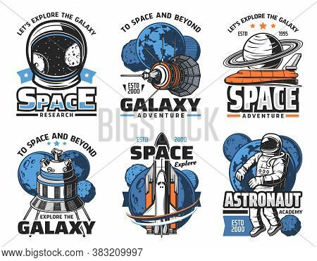 Space Adventure, Galaxy Exploration Vector Icons. Astronaut In Outer Space, Shuttle Orbiter And Sola