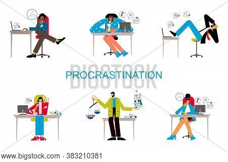 Procrastination And Delaying Working Tasks Concept. Irresponsible Office Employes Procrastinating. L