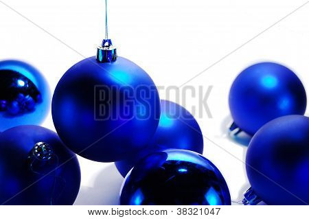 Still-life Of Blue Christmas Baubles