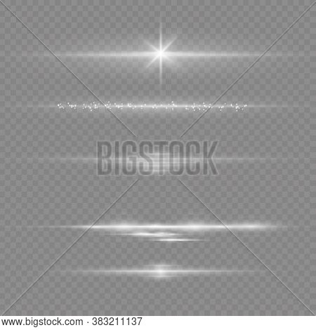 To Center A Bright Flash. Transparent Shining Sun, Bright Flash. White Glowing Light Explodes On A T