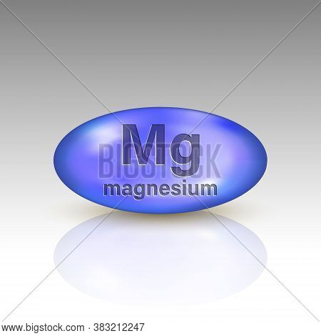 Magnesium Icon. Mineral Drop Pill Capsule. Template For Your Design