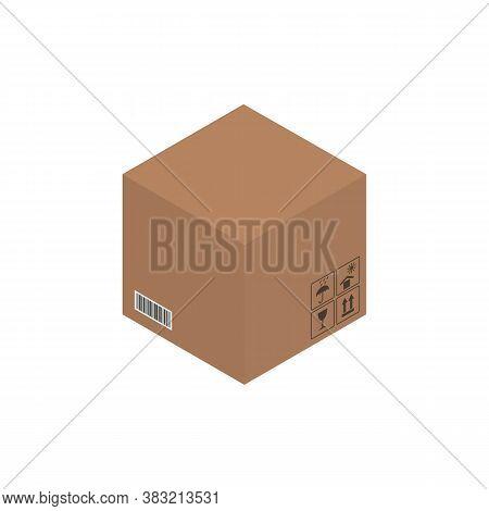 Cardboard Brown Box, Crate Box 3d, Isometric Box. Vector Illustration.