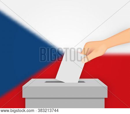 Czech Republic Election Banner Background. Ballot Box With Blurr Template For Your Design