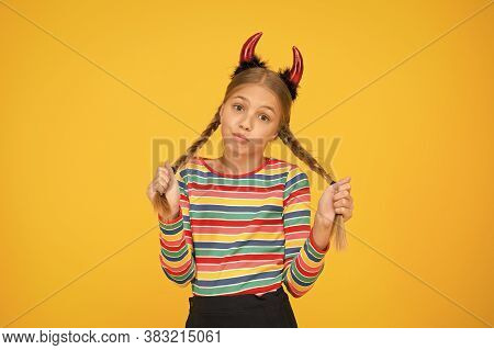 Accessories For Carnival. Preparing For Party. Small Demon. Playful Demon Girl. Little Demon Inside.
