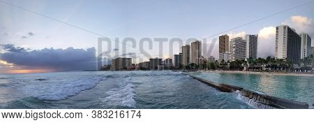 Waikiki - March 27: Panoramic Of Waves Rolling Towards Protected Water Of Beach In World Famous Tour