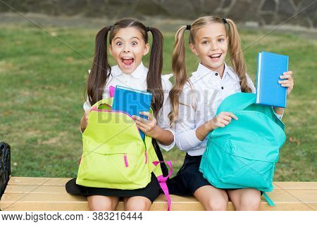 Little School Friends Girls With Backpacks, Sincere Happiness Concept.