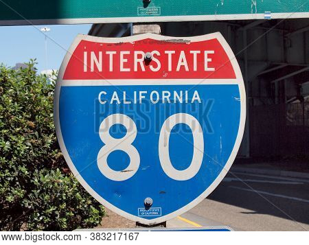 San Francisco -  August 19 2010: Interstate 80 California Sign At Highway Entrance.