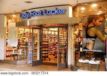 Honolulu - August 7, 2014: Lady Foot Locker Store In Ala Moana Mall.