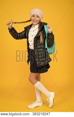 Welcome To Happy Holidays. Small Girl Travel With Backpack On Autumn Holidays. Little Kid Going On S