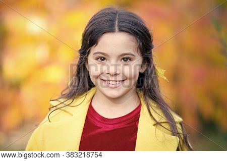 Autumn Is The Years Last Loveliest Smile. Happy Child With Cute Smile On Autumn Background. Little G