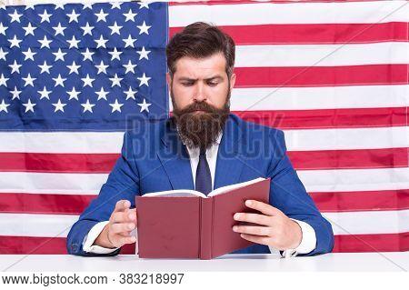 Hipster Man Reading Book Usa Flag Background, University Lecturer Concept.