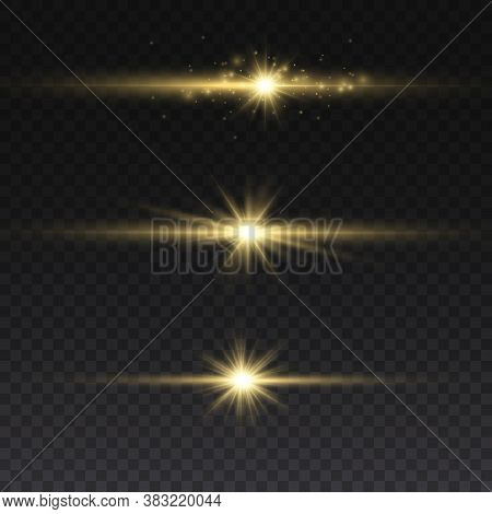 Sparkling Magical Dust Particles. Yellow Glowing Light Explodes On A Transparent Background. Transpa