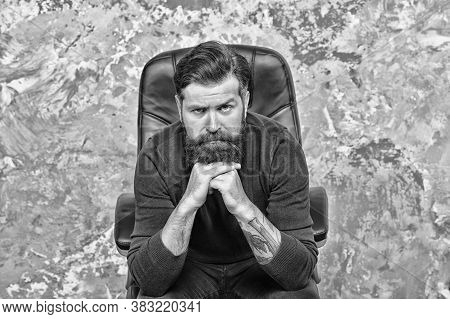 Why So Serious. Caucasian Man Look Thoughtful. Bearded Man With Unshaven Beard Hair On Caucasian Fac