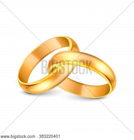 Vector 3d Realistic Gold Metal Wedding Ring Icon Set Closeup Isolated On White Background. Design Te