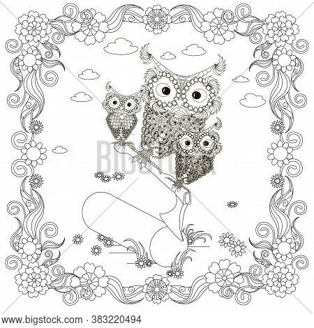 Owl On Ax In Deck In Floral Frame Coloring Page. Cut Cartoons Monochrome Forest Bird Art Design Elem