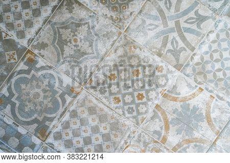 Retro Old Vintage Floor Tiles. Portuguese House Spanish Marocain Style Interior Hydraulic Ceramic Mo