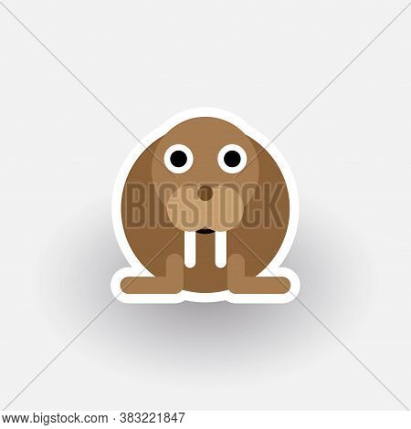Funny Walrus - Cartoon Animal. Children Character. Simple Vector Illustration With Dropped Shadow.