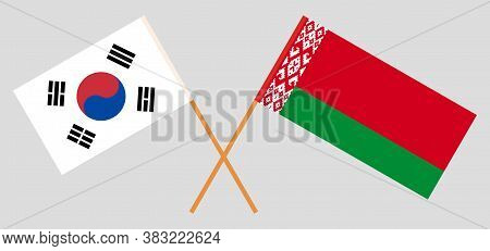 Crossed Flags Of Belarus And South Korea. Official Colors. Correct Proportion. Vector Illustration