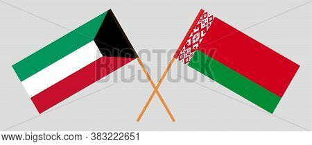 Crossed Flags Of Belarus And Kuwait. Official Colors. Correct Proportion. Vector Illustration