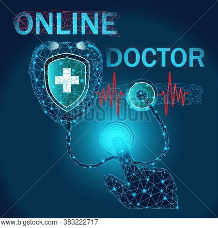 Online Doctor Consultation Vector Sign For Medical Chat Or Mobile App. Hand On Call Button On Phone