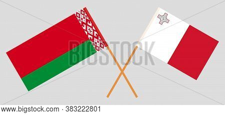 Crossed Flags Of Belarus And Malta. Official Colors. Correct Proportion. Vector Illustration