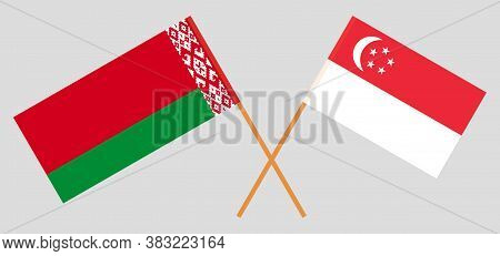Crossed Flags Of Belarus And Singapore. Official Colors. Correct Proportion. Vector Illustration