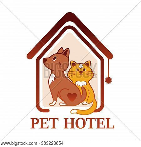 Pet Hotel Colored Logo Design. Concept Of Pet House Building Or Temporary Home For Cats And Dogs, Lo