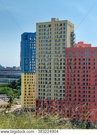 View Of New Residential High-rise Buildings In Bright Colors. Newest Residential Complexes. Ukraine,