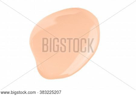 Nude Peach Liquid Concealer Smear Smudge Isolated On White. Makeup Beige Liquid Foundation Drop Swat