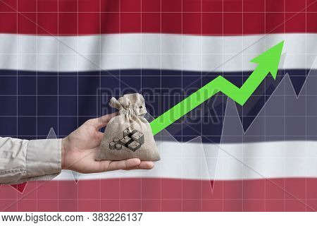 The Concept Of Economic Growth In Kingdom Of Thailand. Hand Holds A Bag With Money And An Upward Arr