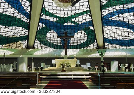 Brasilia, Df, Brazil - August 22, 2020: Interior View From The Cathedral Of Brasília (\