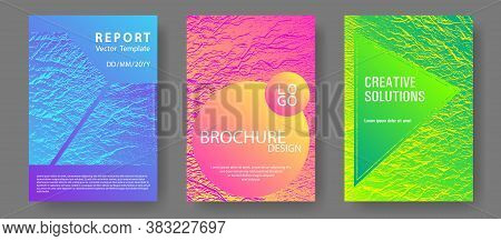 Brochure Layout Design Templates. Pink Blue Green Rainbow Waves Textures. Business Brochure Vector C