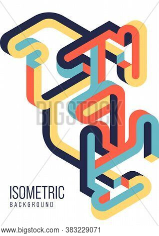 Abstract Isometric Geometric Shape Design Template Background Modern Art Style. Design Element Can B