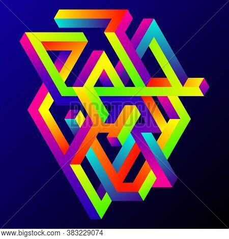 Abstract Gradient Isometric Geometric Shape Design Template Background Modern Art Style. Design Elem
