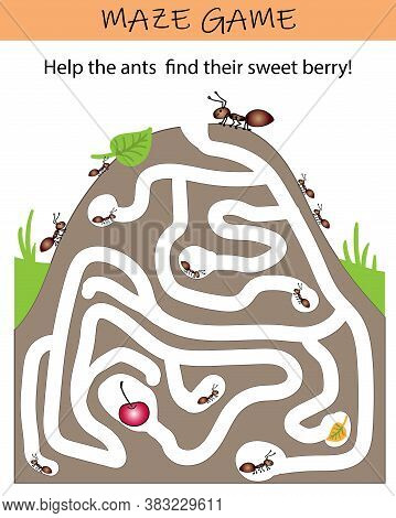 Ant Maze Puzzle. Educational Game For Kids. Worksheet For Kindergarten, Preschool And School.