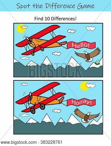 Spot The Difference. Educational Game For Kids. Worksheet For Kindergarten, Preschool And School.